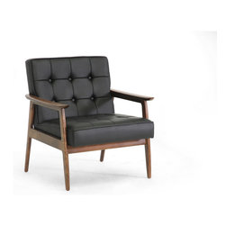 Baxton Studio - Baxton Studio Stratham Black Mid-Century Modern Club Chair - Mid-century modern furniture refuses to fade into the obscurity of the past -just one look at our Stratham Mid-Century Club Chair and it's easy to see why! A keen eye will spot the subtle curves of the wooden frame and button tufted detailing on the seat, which both emphasize the detail-oriented focus of mid-century designers. The black faux leather seat is filled with foam cushioning for just the right level of comfort. The Chinese-made modern living room chair is fully assembled and should be wiped clean with a damp cloth. A matching black Stratham Sofa is also available as is a white version of both pieces (each sold separately).