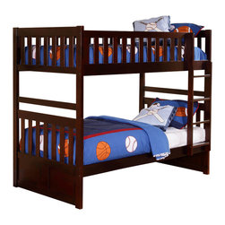 Homelegance - Homelegance Rowe Twin/ Twin Bunk Bed in Dark Cherry - Twin/ Twin - Maximizing sleep space is achieved with the stylish Rowe collection. This transitional bunk bed is featured in a dark cherry finish making it an appropriate choice for a number of youth bedroom settings. With twin over full and twin over twin configurations, the design allows you to choose the size that is right for your family. Two under bed options are available - toy Boxes that provide additional storage space or twin trundle that offers additional sleep space.