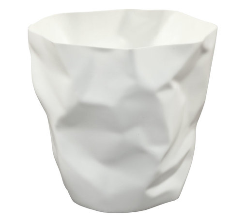 """LexMod - Lava Trash Bin in White - Lava Trash Bin in White - Lava was designed for those who appreciate the irony of a trash can, that is effectively throwing itself in the trash. While theres likely some quantum physics behind this, we prefer to think of Lava as a study in self-reference. As you crumple up those pieces of paper, you can be reminded that your receptacle has already beat you to it. More than just a conversation piece, Lava turns the once ordinary task of trash disposal, into something humorous and uplifting. Set Includes: One - Lava Modern Trash Bin Durable plastic, """"Crumpled paper"""" design, Comes fully assembled, Easy wipe clean surface Overall Product Dimensions: 12.5""""L x 11.5""""W x 11.5""""H - Mid Century Modern Furniture."""