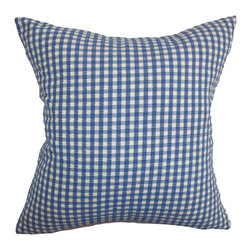 """The Pillow Collection - Wren Plaid Pillow Denim - A classic plaid pattern in shades of denim blue and white bedecks this accent pillow. This decor pillow will surely bring a personality to your interiors. Add an edgy twist to your sofa, bed or couch with this sleek looking square pillow. Blend in other patterns like stripes and zigzags for a more fun decor style. This 18"""" pillow is made of 100% high-quality cotton fabric. Hidden zipper closure for easy cover removal.  Knife edge finish on all four sides.  Reversible pillow with the same fabric on the back side.  Spot cleaning suggested."""