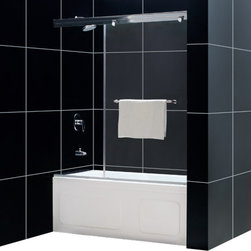 DreamLine - DreamLine SHDR-14605810-01 Torero 56 to 60in Frameless Sliding Tub Door, Clear 3 - The uniquely simple one panel concept of the Torero sliding tub door creates a supremely clean and minimalist style. The frameless sliding panel is crafted from premium 3/8 in. thick tempered glass for high end appeal. The smooth sliding door has an effortless operation and uniquely modern look. 56 - 60 in. W x 58 in. H ,  3/8 (10 mm) thick clear tempered glass,  Chrome hardware finish,  Frameless glass design,  Width installation adjustability: 56 - 60 in.,  Out-of-plumb installation adjustability: No,  Unique single 35 in.W sliding glass panel,  Convenient towel bar on the outside panel,  Anodized aluminum guide rails,  Aluminum top and bottom guide rails may be shortened by cutting up to 4in,  Door opening: 21 in.-25 in.,  Material: Tempered Glass
