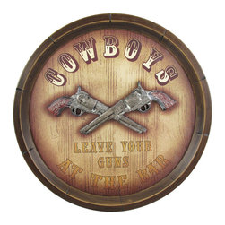 """Zeckos - """"Cowboys Leave Your Guns"""" Western Bar Sign - This cool Western style pub sign is a perfect accent to a home bar. Measuring 14 inches in diameter, the sign features bas relief crossed revolvers, with the legend Cowboys Leave Your Guns At The Bar'. It hangs easily on your wall with a single nail."""