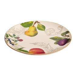BonJour - BonJour Dinnerware Orchard Harvest 12 in. Round Platter Multicolor - 59027 - Shop for Plates and Dishes from Hayneedle.com! It s tough to improve on your all-time favorite food but the BonJour Dinnerware Orchard Harvest 12 in. Round Platter just might do the trick. After all its ivory-finished stoneware sets an elegant backdrop for the lush colorful fruit motif and ochre border along the edge. Use to serve sandwiches appetizers or main courses - you ll find oodles of uses for its all-purpose design. Plus it s dishwasher microwave and freezer safe and can even warm in the oven at 250F for up to 30 minutes. Coordinates with other pieces in BonJour s Orchard Harvest collection.About Meyer CorporationMeyer Corporation U.S. based in Vallejo Calif. has been one of the fastest-growing cookware companies in the United States and is now the largest distributor of range-top cookware in the country. Meyer Corporation specializes in the distribution of metal cookware and other kitchen products. The cookware is made by Meyer Corporation's own affiliate factories throughout the world; offering different brands enables the company to distribute different levels of cookware. Meyer Corporation's focus is on developing high-quality top-performing cookware using cutting-edge technology and designs. The company offers cookware made from stainless steel hard-anodized aluminum and non-stick aluminum.