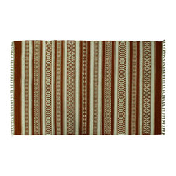 3X5 Area Rug, 100% Wool Ivory & Brown Striped Durie Kilim Flat Weave Rug SH6261 - Soumaks & Kilims are prominent Flat Woven Rugs.  Flat Woven Rugs are made by weaving wool onto a foundation of cotton warps on the loom.  The unique trait about these thin rugs is that they're reversible.  Pillows and Blankets can be made from Soumas & Kilims.