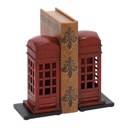 Benzara - Library Metal Bookend Pair 9in.H, 4in.W - Made with iron alloy Size: 9 in. x4 in. x9 in.