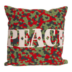 Trans-Ocean - 'Peace' Red Pillow - The highly detailed painterly effect is achieved by Liora Mannes patented Lamontage process which combines hand crafted art with cutting edge technology.These pillows are made with 100% polyester microfiber for an extra soft hand, and a 100% Polyester Insert.Liora Manne's pillows are suitable for Indoors or Outdoors, are antimicrobial, have a removable cover with a zipper closure for easy-care, and are handwashable.
