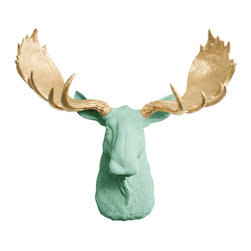 Wall Charmers - Wall Charmers Moose in Mint + Gold Antler | Faux Taxidermy Resin Fake Head Art - WALL CHARMERS FAUX TAXIDERMY MOOSE HEAD
