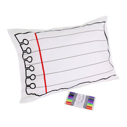 Doodle - Doodle Pillowcase - Draw on It, Wash It, Do It Again - Transform your bedroom into a masterpiece with the Doodle Pillowcase. Why buy a pillowcase with a pattern already on it when you can make your own?