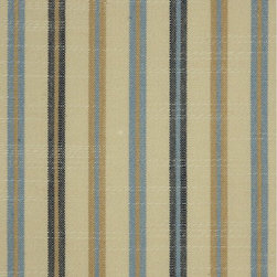 Blue and Beige Striped Cotton Fabrics -