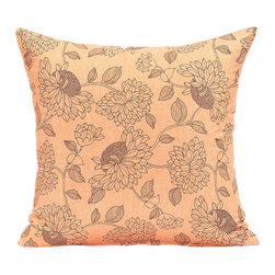 "Blooming Home Decor - Peach Orange & Black Flower Pattern Throw Pillow Cover - (Available in 16""x16"", 18""x18"", 20""x20"")"