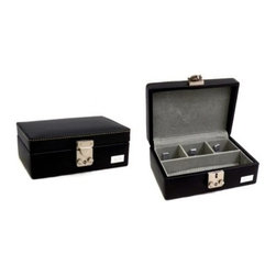 Bey-Berk Personalized Samson Black Watch Box - 7L x 2.5H in. - Elegant, streamlined, and intrinsically beautiful, the Samson Black Watch Box with Optional Personalization is ideal for housing all your valuable possessions in style. It has a large front space for your eyeglasses or a watch. The three crowning chambers are perfect for cuff links, rings, or other jewelry you need to keep organized. The size and outer clasp of this watch box make it an ideal piece to use in space-conscious homes or even for traveling. Add a unique touch to your watch box with a personalized plate (optional).About Bey-Berk InternationalThis quality item is made by Bey-Berk. For more than 20 years, Bey-Berk International has crafted and hand-selected unique gifts and accessories from around the world to meet the demands of discerning customers. With its line of elegant and distinctive products, Bey-Berk has established itself as a leader in luxury accessories.
