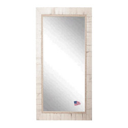 Rayne Mirrors - American Made Rayne Tuscan Ivory Floor Mirror - This Tuscan inspired floor mirror features a weathered ivory wood block overlay design and inner scroll detailing.  Aged & distressed like you've owned it for years.   Rayne's American Made standard of quality includes; metal reinforced frame corner support, both vertical and horizontal hanging hardware installed and a manufacturers warranty.
