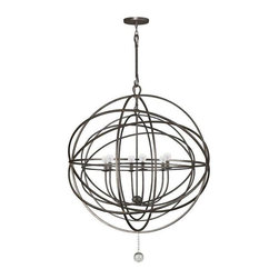 Crystorama Lighting - Crystorama Lighting 9209-EB Solaris Transitional / Eclectic Chandelier - Crystorama Lighting 9209-EB Solaris Transitional / Eclectic Chandelier in English Bronze With Clear Smooth Balls Crystal
