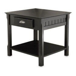 Winsome Trading - Riley End Table with Drawer in Black - Add instant style to your decor with this handsome end table. Its solid hardwood construction features routed details on the sides, contemporary hardware and a sleek black finish.