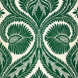 Dryden W5725-01 Wallpaper - This damask print in a deep kelly green is perfect for someone looking for a wallpaper that is whimsical and theatrical.