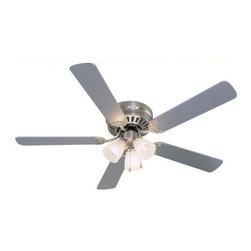 "Builders Collection - Satin Nickel 52"" Hugger Ceiling Fan w/ Light Kit - Motor Finish: Satin Nickel"