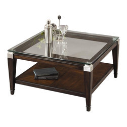 Bassett Mirror - Floating Glass Top Square Cocktail Table in W - This attractive coffee table features a beautiful floating square top and a lower shelf that is perfect for either storage or display. The frame is made from solid oak and has a walnut finish that will match with virtually any home d̩cor. Dunhill Collection. Lower shelf for extra storage. Designed with brushed nickel corners. Made of Parquet Oak. No assembly required. 36 in. W x 36 in. D x 18 in. H (105 lbs.)