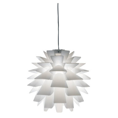 Mid Century Modern Lighting - Asparagus pendant features a shade made of white polypropylene slats and an aluminum finish. Features cord On/Off switch. Cord length is 196.75 inches. Includes canopy. One 40 watt, 120 volt, A19 medium base incandescent lamp not included. General light distribution. 17.5 inch diameter x 17.5 inch height.