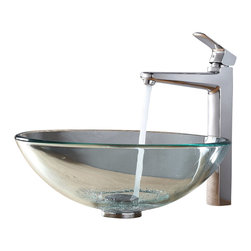 Kraus - Kraus Clear Glass Vessel Sink and Virtus Faucet Chrome - *Add a touch of elegance to your bathroom with a glass sink combo from Kraus