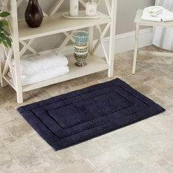 Safavieh - Safavieh Spa 2400 Gram Tri Navy 21 x 34 Bath Rug (Set of 2) - Turn any bathroom into a spa with an ultra luxurious extra dense bath rug. Machine washable. Superior 2400-gram bath mats are both plush and absorbent.