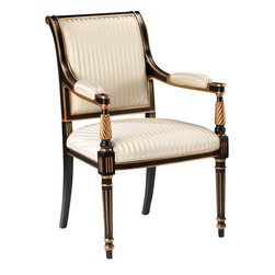 "Inviting Home - Regency-Style Armchair - Regency style carved wood armchair; seat: 25""W x 21-1/2""D x 20-1/2""H; back: 38-3/4""H; arms: 28-1/4""H; hand-crafted in Italy; Regency style carved wood chairs in black finish with antique gold-leaf trim. Chairs have striped ivory upholstery. These upholstered chairs are hand-crafted in Italy."