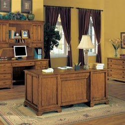 Wynwood - Wynwood Halton Hills Credenza and Hutch Set in Toasted Oak - Stay organized and be productive in your home office with this traditional styled Halton Hills Credenza and Hutch Set by Wynwood Furnitures. Perfect for setting up your computer workstation with a CPU storage cabinet and drop down, roll-out keyboard tray. Keep important files close, with the lateral file drawer and easily access office supplies stored in the other pedestal drawers. Enjoy extra storage with two wooden door hutch cabinets, each having an adjustable shelf. Pigeon hole compartments, and additional drawers offer more places to store and organize your office essentials. With a toasty oak finish and aged brass hardware, your office will have a clean and sophisticated look. Useful on its own, or best paired with an executive desk and lateral file for a full office look.