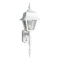"""Progress Lighting - P5657-30 Progress Lighting Non-Metallic - Progress Lighting P5657-3 Outdoor Sconce Wall lantern with tail and clear, beveled acrylic panels. ,. This item by Progress Lighting is offered in white. Requires one 100-watt frosted incandescent bulb. Outdoor wall sconce. Clear beveled glass panels. Covers outlet box. Mounting strap for outlet box included. UL Listed. Width: 8"""". Height: 25"""". Extension: 9"""". Total Wattage: 100."""