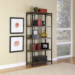 HomeStyles - Modern Craftsman 5-Tier Multi-Function Shelve - Reminiscent of the American Craftsman Era with understated style and simplicity, the Modern Craftsman 5-Tier Multi-Function Shelves marries a traditional,  distressed Oak finish on engineered wood solids with oak veneers with new age, deep brown powder coated metal accented with gold highlighting. This multi-faceted storage shelf will meet all your storage needs, and will complement any area in the home such as bedroom, kitchen, office, living room, bathroom, etc. The Modern Craftsman Storage stand is equipped with five fixed shelves with metal supports to prevent bowing. Other features include levelers on the feet for added stability. 38 in. W x 16 in. D x 76.25 in. H