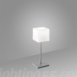 Itre - Cubi Night Table Lamp - Cubi night table lamp. Small version of the Cubi table lamp for commodes and night tables. White satin glass with grey metal structure.