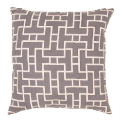 Jaipur Rugs - Handmade Cotton Gray/Ivory/White (20''x20'') Pillow - Modena is a cotton based pillow embroidered with geometric designs.  Add to a  bed or side chair for a great accent.