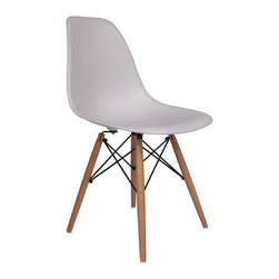 Lemoderno - Molded Plastic Side Chair Wood Leg Base White Shell By Lemoderno, Qty 6 - The classic plastic side chair with wood base remains popular today for cafeterias, home offices, and dining areas. A clean, simple form sculpted to fit the body. Shells are recyclable polypropylene. The shell is dyed throughout so colors remain vibrant even after years of hard use. For extended comfort, the shell is connected to the base by rubber shock mounts. This item is a high quality reproduction of the original.