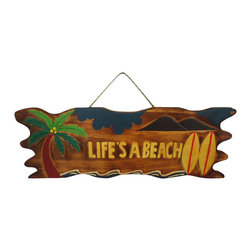 """Handcrafted Model Ships - Wooden Life's a Beach Sign 24"""" Nautical Gifts and Decor Wooden Beach Sign - New - Immerse yourself in the warm ambiance of the beach, imagining golden sands between your toes as you listen to the gentle sound of the surf, while you enjoy Handcrafted Nautical Decor's fabulous Beach Signs. Perfect for welcoming friends and family, or to advertise a festive party at your beach house, bar, or restaurant, this Wooden Life's a Beach Sign 24"""" sign will brighten your life. Place this beach sign up wherever you may choose, and enjoy its wonderful style and the delightful beach atmosphere it brings."""