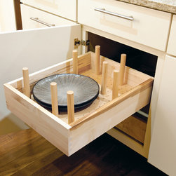 """Deep Drawer Pegged Dish Organizer - organizer kit includes: board and 8 posts. posts mount into pre-drilled holes and are secured with fastening nut. Additional posts can be ordered. posts are 1"""" diameter and 6 1/2"""" in height. pre-drilled holes have 1 3/16"""" centers"""