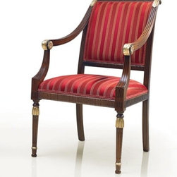 Italydesign Studios - Venezia Dining Chair Collection 2 - Elegant small Empire style armchair made of beech wood; seat and back upholstered in red and gold striped velvet. Standard walnut polished finish with gold details; seat padded with webbing, springs and foam.