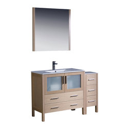 """Fresca - 48"""" Light Oak Vanity w/ Side Cabinet & Integrated Savio Brushed Nickel Faucet - Fresca is pleased to usher in a new age of customization with the introduction of its Torino line.  The frosted glass panels of the doors balance out the sleek and modern lines of Torino, making it fit perfectly in eithertown or country decor."""