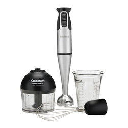 Cuisinart - Cuisinart Brushed Stainless Steel 200-Watt Smart Stick Hand Blender - Whip it good! You'll mix, chop and whir like a pro with this remarkable handheld stick blender. It boasts a powerful motor, multiuse blades and an ergonomic design to gets through challenging chores in a snap.