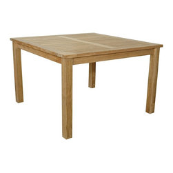 "Anderson Teak - Windsor 47"" Square Table Small Slats - This bistro table is perfect for restaurant, cafe or place that can fit 4-8 people. Table can be used with any mix and match chairs."
