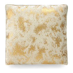 Gold Leaf Pillow - ivory/Gold - A softened glimmer. A hint of glam. The Gold Leaf Pillow imparts both to the appointments of a metropolitan pied-�-terre, a sleek industrial loft, a great room of inspired eclectic decor. A lustrous amalgam of ivory and gold lends the pillow a refined aesthetic with an updated flair that enlivens a settee, sofa, occasional chair, or window seat.