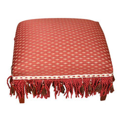 MBW Furniture - Small Petite Upholstered Footstool Ottoman Red Burgundy Gold Fabric - Burgundy & Gold Fabric