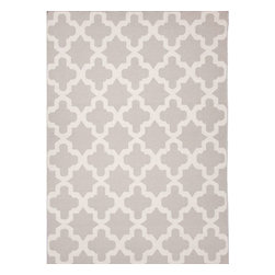 Jaipur - Flat-Weave Moroccan Pattern Wool Gray/Ivory Area Rug, 8 x 10 - An array of simple flat weave designs in 100% wool - from simple modern geometrics to stripes and Ikats. Colors look modern and fresh and very contemporary.