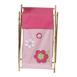 "Sweet Jojo Designs - Pink & Green Flower Hamper - The Pink & Green Flower Hamper by Sweet Jojo Designs will add a designers touch to any childs room. This childrens laundry clothes hamper has a wooden frame, mesh liner, and a fabric cover.The removable hamper body is secured to the wooden frame with corner loops and Velcro. The wooden stand folds flat for space-saving storage and the removable mesh liner is great for toting laundry.Dimensions: 15.5"" Length x 16"" Width x 26.5"" Height.If you like the Pink & Green Flower Hamper Hamper, dont forget to check out the other items in the collection."