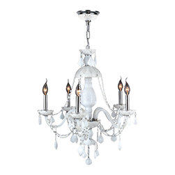 """Worldwide Lighting - Provence 5-Light Chrome Finish and White Crystal Chandelier 25"""" D x 28"""" H Large - This stunning 5-light crystal chandelier only uses the best quality material and workmanship ensuring a beautiful heirloom quality piece. Featuring a radiant chrome finish and finely cut premium grade white colored crystals with a lead content of 30%, this elegant chandelier will give any room sparkle and glamour."""