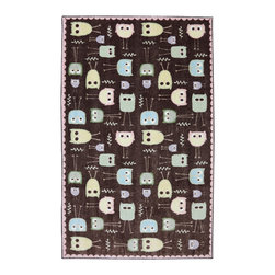 American Rug Craftsmen - American Rug Craftsmen Crib 2 College Baby Owls Brown Rug (5' x 8') - The Crib 2 College collection offers great designs and color combinations that match most any bedding or trendy paint colors.  This collection delivers options catered to creating a unique space that can grow with your child.