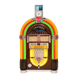 Crosley - Crosley iJuke Premier Jukebox Multicolor - CR1702A-CH - Shop for Jukeboxes from Hayneedle.com! Complete in every detail right down to the eternity lighting the Crosley iJuke Premier Jukebox is a scaled-down version of a classic. This tabletop jukebox will keep your party rockin' 'round the clock thanks to its built-in universal iPod dock. That means your favorite tunes are always accessible. There's also a CD player and it's all operational by the included remote control. This jukebox features dynamic full-range stereo speakers and authentic neon lighting. Adding to its nostalgic charm is a faux play list with selection buttons. You'll have to load these songs to your iPod to actually hear them but it's fun to browse the pop titles of these oldies hits. This jukebox also features cherry-finished wood accents and chrome-finished details for an extra authentic look.About CrosleyIn 1920 Powel Crosley founded the company that pioneered radio broadcasting and mass market manufacturing around the world starting with a simple radio meticulously crafted with obsessive detail and accuracy and a measure of consideration for the wallet. Today the Crosley name lives on with superb detailed replicas that transcend time. Vintage radios and turntables are graced by unforgettable Crosley styling blended with the latest technology. The Crosley Collection includes AM/FM radios suitcase-style record players multi- functional audio cassette/CD players jukeboxes music boxes telephones and more. Rich authentic retro designs make Crosley today's premier vintage electronics manufacturer.