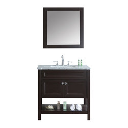 "Ariel - Mayfield 36"" Single-Sink Bathroom Vanity Set - Inspired by traditional Hampton-style beach cottages, this vanity from our Mayfield collection combines a dark espresso finish with carrera marble countertop and decorative crystal knob hardware for a crisp, clean feel that goes well with any bathroom design. Two doors with soft-closing hinges.  3 soft-sliding drawers.  White carrera marble countertop (1"" edge) w/matching backsplash design.  All marble tops are finished by hand, pre-drilled for all 8"" widespread faucets, and double-sealed for scratch-resistance and long-term durability. 2 cUPC-certified rectangular undermount sinks Color: Alpine White 2 Matching wood-framed 27.6""W x 32.3""H mirror included Vanity Dimensions: 60""L x 22""W x 34.6""H"