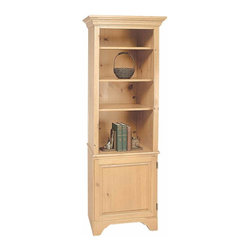 Renovators Supply - Bookcases UnFinished Pine Shaker Bookcase Kit 66 1/2H | 195910 - Shaker Bookcase. Use individually or pair it with item #194110 for a larger unit. Crafted of pine this bookcase is naturally unfinished. Leave natural or stain as desired. Bottom door knob is located on the LEFT side. Kit requires assembly. Measures 66 1/2 H x 21 W x 17 1/2 proj.