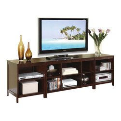 Adarn Inc - 3 PC Modern Simple Design Storage TV Stand Media Shelf Console Entertainment Set - pacious enough to hold a wide variety of entertainment accessories, books, CD's and more, the 3-piece TV stand contemporary style fits in to a family lifestyle adding its dark oak veneer to a living space need a spruce of modern charm.