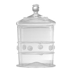 Isabella Canister - Small - Make a dainty impression with the Isabella Small Canister, a clear glass vessel with a matching lid. Cover it, and you have a kitchen container that displays pretty contents with the sweet addition of a formal berry motif applied to the outside; remove the lid with its spherical knob, and a cylindrical vase awaits a dense, lush seasonal bouquet on a windowsill or small table.