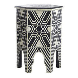 BONE HEXA TABLE - This art deco throwback is the perfect decorative statement for a house that needs a little bit of fun. Use it as an end table or even a plant stand. Made of handcarved camel bone that is inlaid by hand. Incorporate it into your design to add something eclectic and graphic.