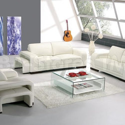 "6 PC Modern Leather Living Room Set in White (Sofa, Loveseat, Chair and 3 Footre - This 6 PC Modern Leather Living Room Set in White (Sofa, Loveseat, Chair and 3 Footrests) by VIG Furniture is made in modern-contemporary style. This is a best quality sofa set made of white leather and is attractive furniture for your living room. This couch set is made of best quality Italian leather. Italian leather is most famous globally for luxury, quality and comfort. The frame of sofa set has been made with solid hardwood products. All corners of the sofa set are perfect ""blocking"", nailing and gluing provide with strength and durability. Each piece of the sofa set features removable leather footrest."